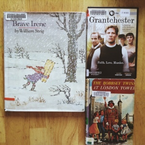 Week 22 Library Haul: Brave Irene (cute illustrations), Grantchester (cute vicar), Bobbsey Twins (cute children's story with old-age charm).